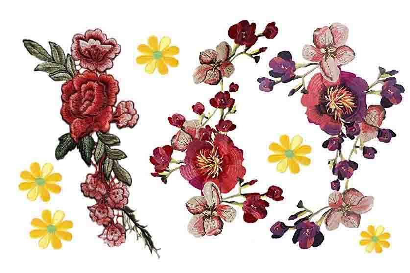 Flores bordadas para ropa